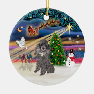 Xmas Magic - Silver Min. Poodle Christmas Ornament