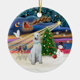 Xmas Magic - Standard Poodle (cream/white) Christmas Ornament