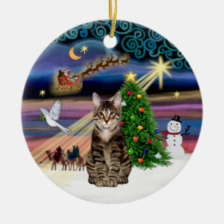 Xmas Magic - Tabby Tiger cat Christmas Ornament