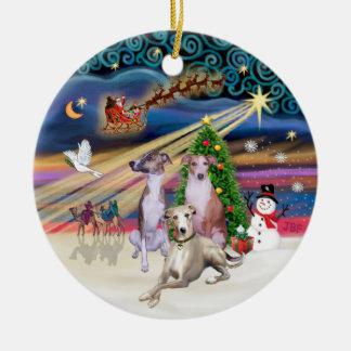 Xmas Magic - Three Whippets Christmas Ornament