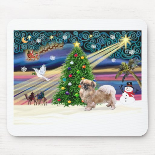 Xmas Magic-Tibetan Spaniel Mouse Pads