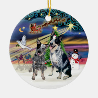 Xmas Magic - Two Australian Cattle Dogs Round Ceramic Decoration