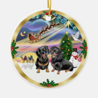 Xmas Magic - Two Black Dachshunds Christmas Ornament