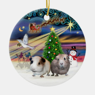 Xmas Magic - Two Guinea Pigs Round Ceramic Decoration
