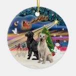 Xmas Magic - Two Labradors (Black +Yellow) Christmas Ornament