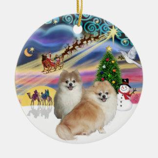 Xmas Magic - Two Pomeranians (WS+fawn) Christmas Ornament