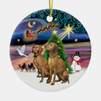 Xmas Magic - Two Vizslas Round Ceramic Decoration