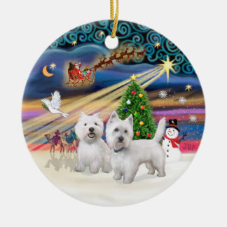 Xmas Magic - Two Westies Christmas Ornament