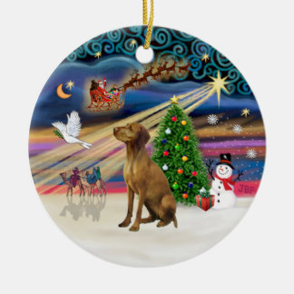 Xmas Magic - Vizsla #2 Round Ceramic Decoration