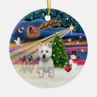 Xmas Magic - Westie (P) Christmas Ornament