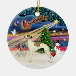 Xmas Magic - Whippet 3 (cream-brindle) Christmas Ornament