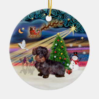 Xmas Magic - Wire Haired Dachshund Christmas Ornament