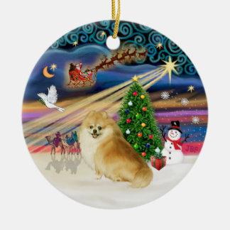 Xmas Magic - Wolf Sable Pomeranian Christmas Ornament