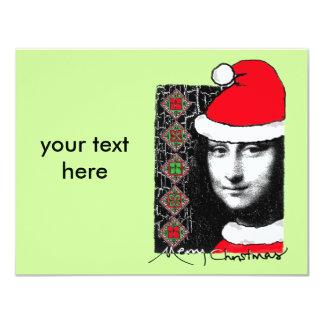 """Xmas Mona Lisa 4.25"""" X 5.5"""" Invitation Card"""