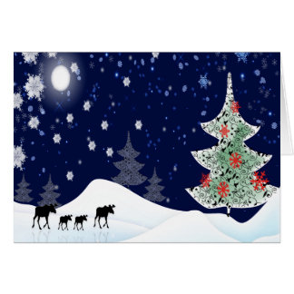 Xmas Moose Greeting Card