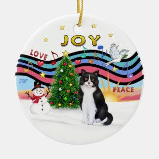 Xmas Music #1 - Black and White cat Christmas Ornament