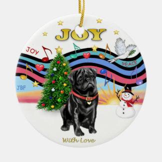Xmas Music 1 - Black Pug Christmas Ornament