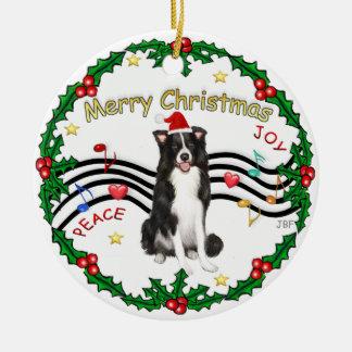 Xmas Music 1 - Border Collie (Santa hat) Christmas Ornament