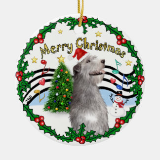 Xmas Music 1 - MC - Irish Wolfhound (hat) Christmas Ornament