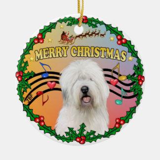 Xmas Music 1 - Old English Sheepdog Christmas Ornament