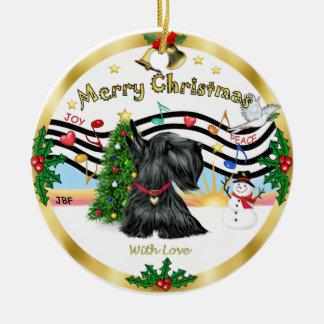 Xmas Music 1 - Scottish Terrier Round Ceramic Decoration
