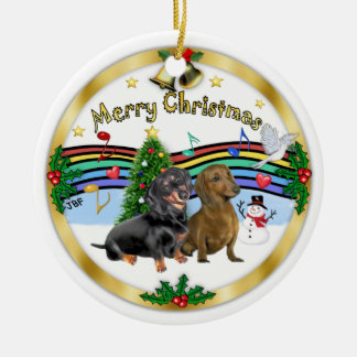 Xmas Music 1 - Two Dachshunds Christmas Ornament