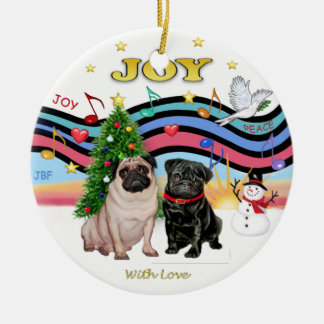 Xmas Music 1 - Two Pugs Christmas Ornament