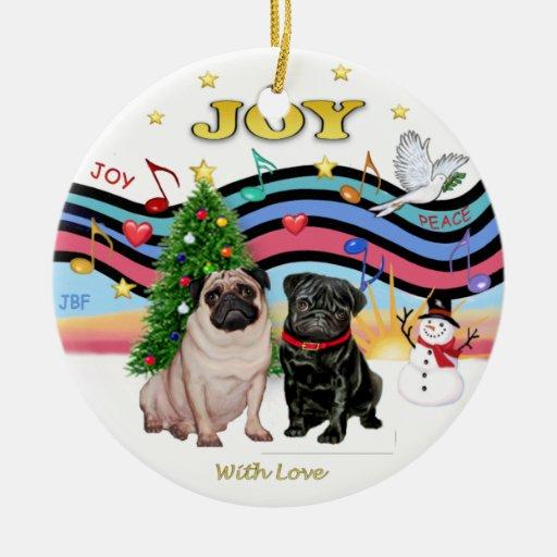 Xmas Music 1 - Two Pugs Christmas Tree Ornament