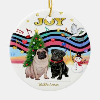 Xmas Music 1 - Two Pugs Round Ceramic Decoration