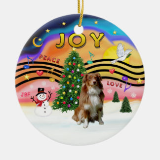 Xmas Music 2 - Aussie Shepherd (red) Christmas Ornament