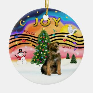 Xmas Music 2 - Border Terrier Round Ceramic Decoration