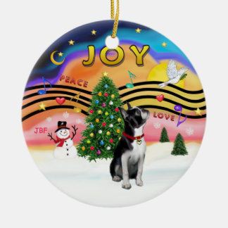 Xmas Music 2 - Boston Terrier Round Ceramic Decoration