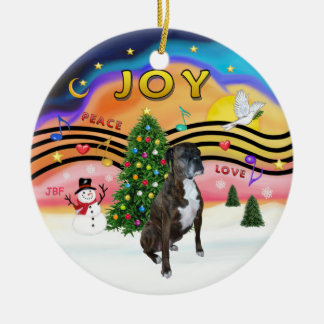 Xmas Music 2 - Boxer (brindle - nat) Christmas Ornament