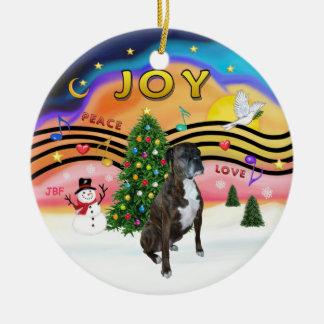 Xmas Music 2 - Boxer (brindle - nat) Christmas Ornament