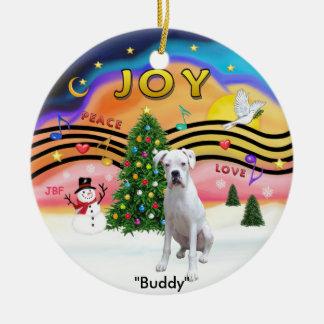 Xmas Music 2 - Boxer (White-nat.) Christmas Ornament