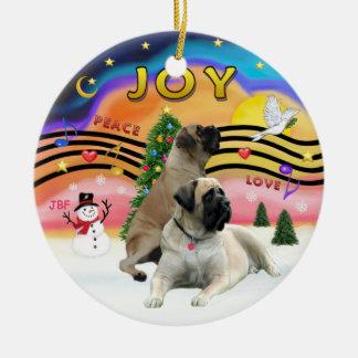Xmas Music 2 - Bull Mastiffs (two) Christmas Ornament