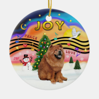 Xmas Music 2 - Chow Chow (red) Christmas Ornament