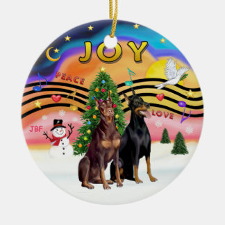 Xmas Music 2 - Dobermans (TWO) Christmas Ornament