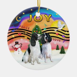 Xmas Music 2 - English Springers (2  black-white) Christmas Ornament
