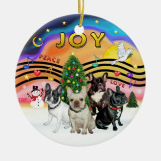 Xmas Music 2 - French Bulldogs (four) Christmas Ornament