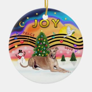 Xmas Music 2 - Greyhound (fawn liying down) Round Ceramic Decoration
