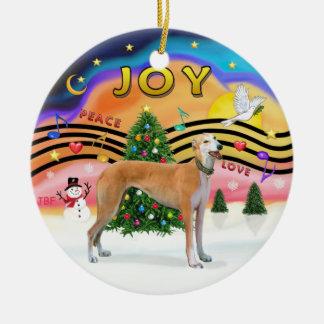Xmas Music 2 - Greyhound (light red) Christmas Ornament
