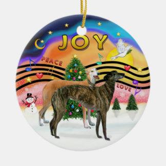 Xmas Music 2 - Greyhounds (TWO) Round Ceramic Decoration