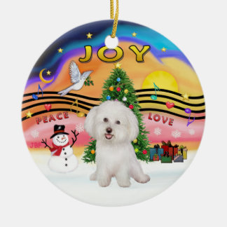 Xmas Music 2P - Bichon Frise 7 Ornaments