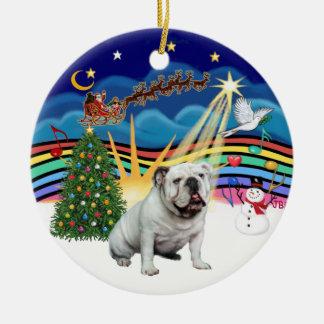 Xmas Music #3  - White English Bulldog Christmas Ornament