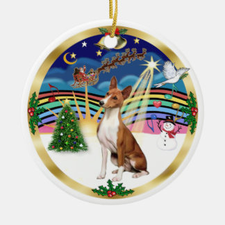 Xmas Music 5 - Basenji Round Ceramic Decoration