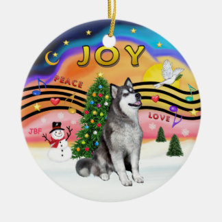Xmas Music - Alaskan Malamute Round Ceramic Decoration