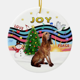XMas Music - Bloodhound Round Ceramic Decoration
