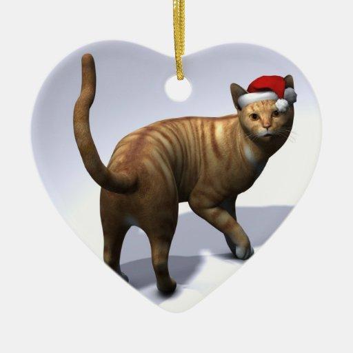Xmas Orange Tabby Christmas Ornament