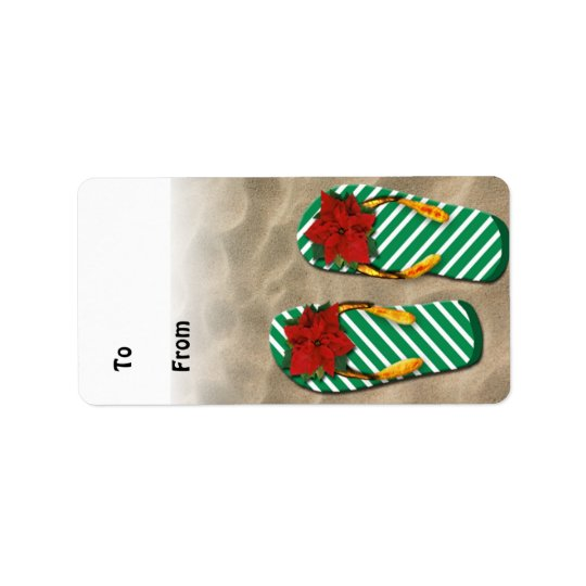 Xmas Party Flip Flops Gift Tags Address Label